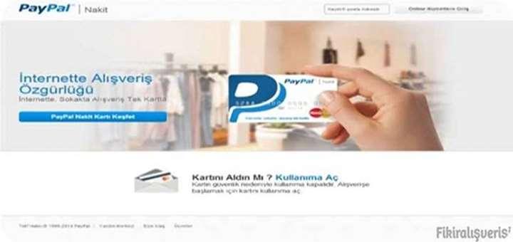 Paypal Nakit Kart şifresinin online alınması