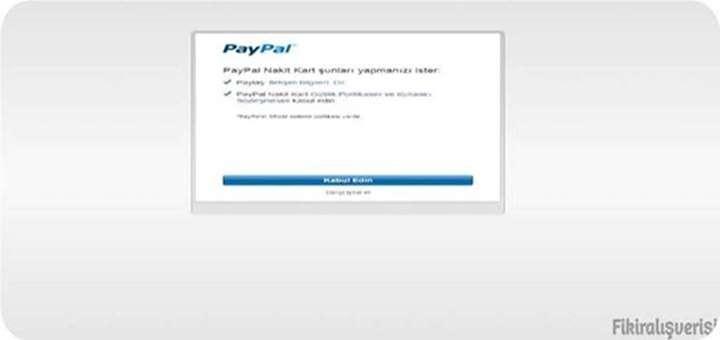 Paypal Nakitkart Sözleşmesinin Kabul Edilmesi