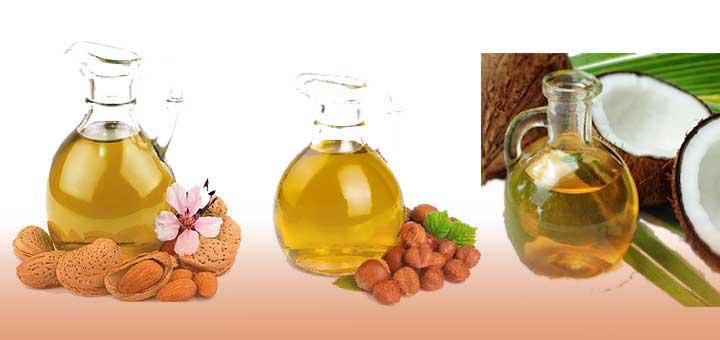 Bronzlaştırıcı doğal yağlardan badem yağı, fındık yağı ve hindistan cevizi yağı