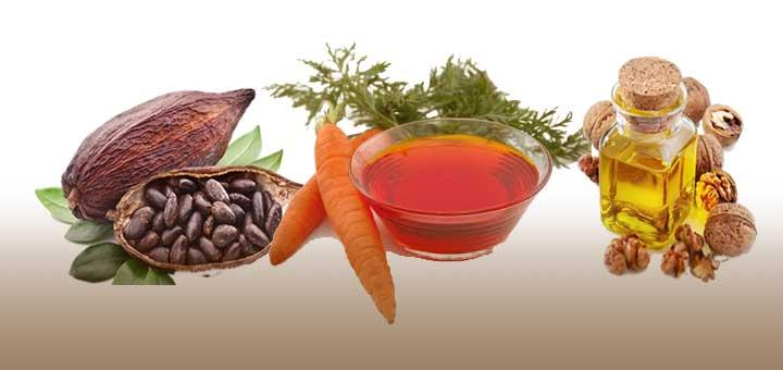 Bronzlaştırıcı doğal yağlardan kakao yağı, havuç yağı ve ceviz yağı