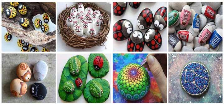 Çakıl taşlarını boyayarak dekoratif süs yapımı